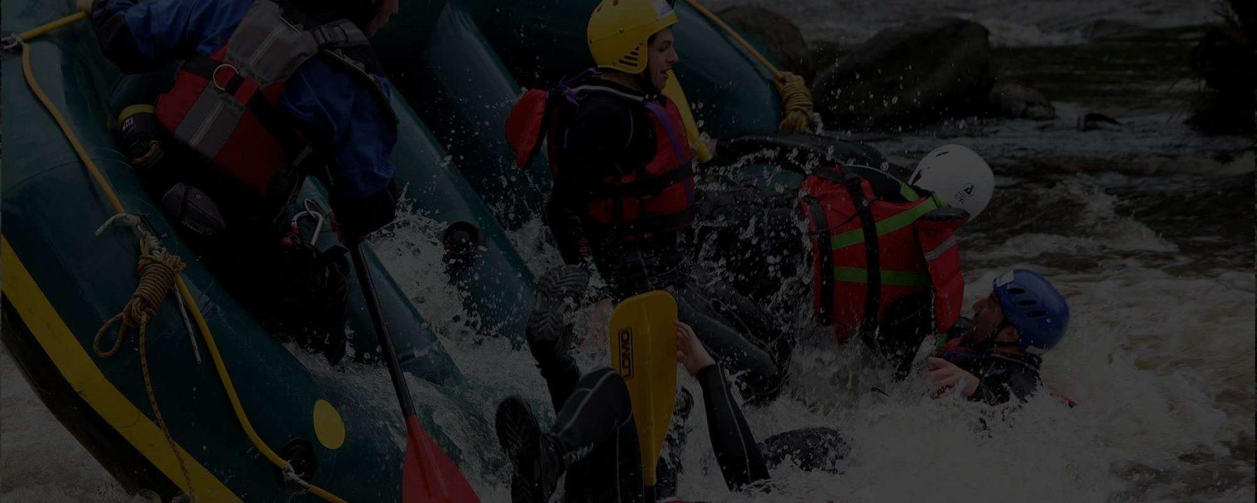 Raft dumping customers in Llangollen